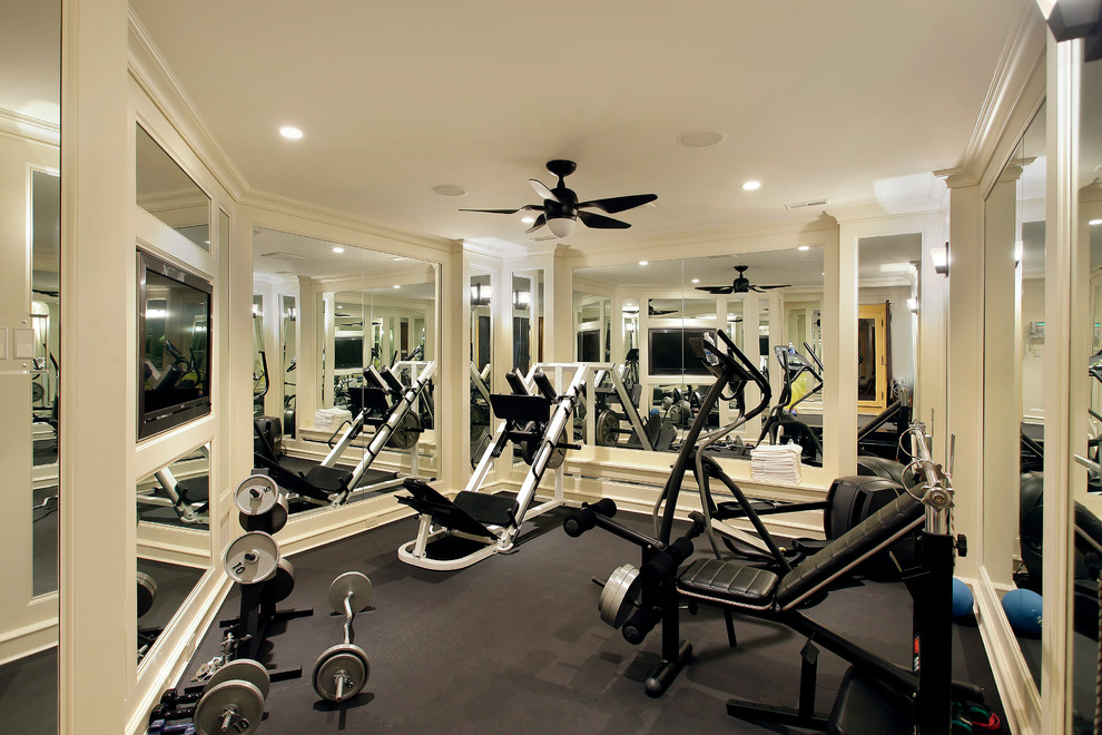 Magnificent marcy weight bench in Home Gym Mediterranean with Exercise Room  next to Small Home Gyms  alongside Flooring  and Best Home Gym Colors