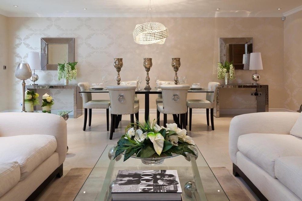 Photo courtesy of ann lowengart photo by: Magnificent mirrored console table in Living Room ...
