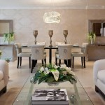 Magnificent mirrored console table in Living Room Contemporary with Keeping Room next to Glass Dining Table alongside Brown And Cream Scheme and Modern Art Deco Interior
