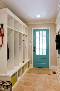 Splashy cubbies in Hall Traditional with Mudroom Locker ...