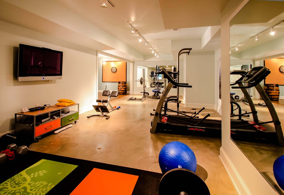 Sumptuous marcy weight bench in Home Gym Contemporary with Concrete Floor  next to Polished Concrete Floor  alongside Best Home Gym Colors  and Stained Concrete Floor