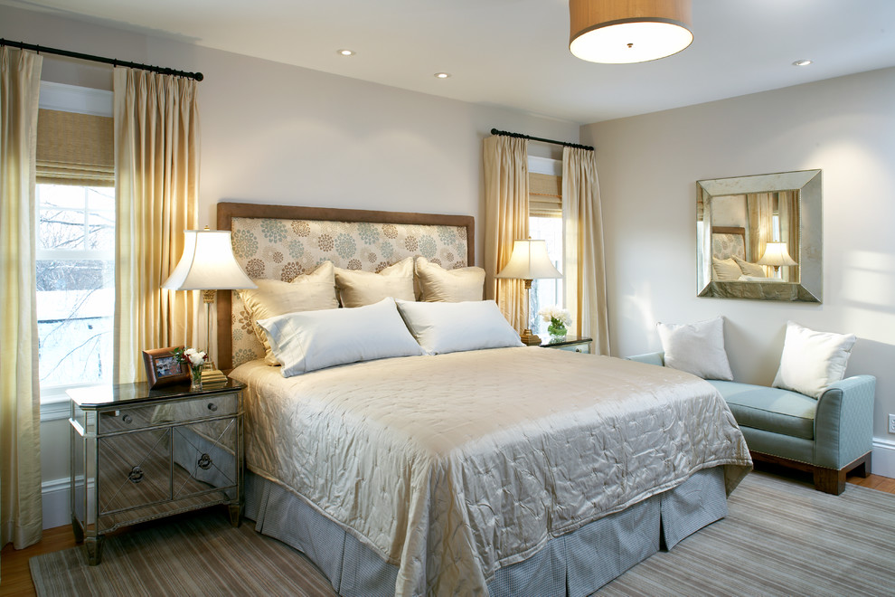Baroque blackout drapes in Bedroom Transitional with Grey Headboard next to Blue Gray Walls