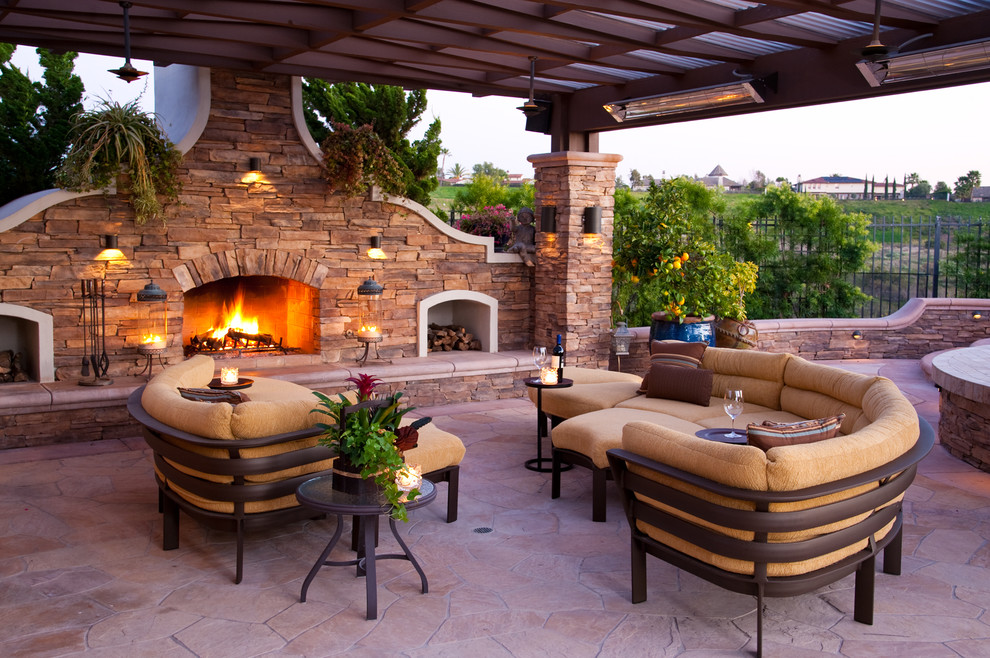 Baroque dr infrared heater in Patio Mediterranean with Rock Patio  next to Family Compound  alongside Patio Fireplace  and Patio With Pergola
