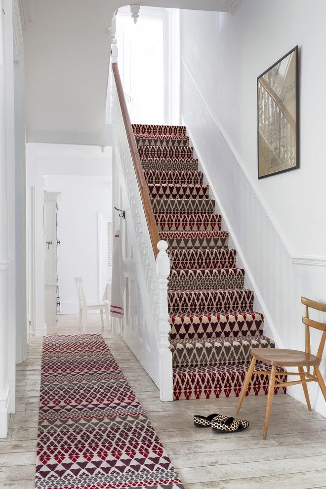 Baroque Stair Carpet Treads In Staircase Traditional With Wall To   Painted Stairs With Carpet Treads   Carpet Covered   Bare Wood   Design   Carpeting   Charcoal Grey