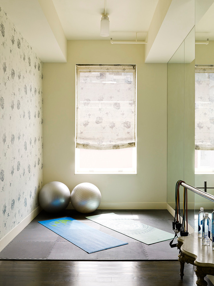 Baroque thick yoga mat in Home Gym Contemporary with Wallpaper Accent Wall  next to Flooring  alongside Great Room Furniture Layout  and Best Home Gym Colors