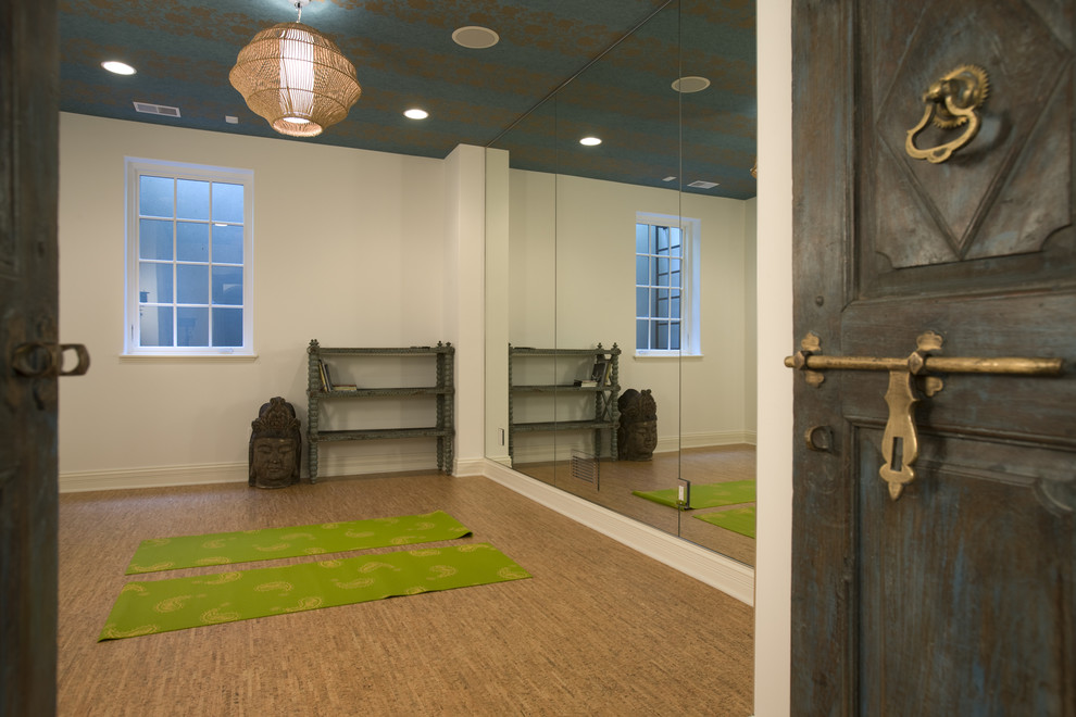 Baroque thick yoga mat in Home Gym Mediterranean with Yoga Room  next to Benjamin Moore Stonington Gray  alongside Benjamin Moore Edgecomb Gray  and Meditation Room