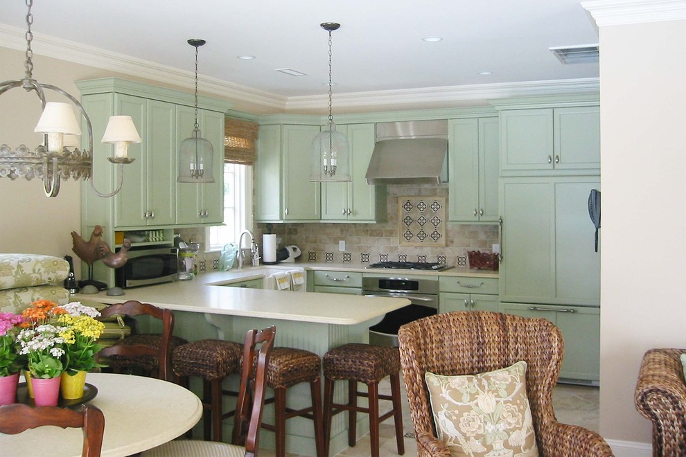 Beautiful seagrass bar stools in Kitchen Traditional with ...