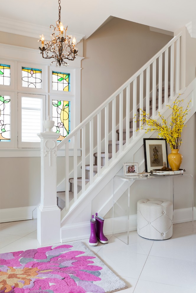 Bright Acrylic Console Table In Staircase Transitional With Florida Tile Next To Carpeted