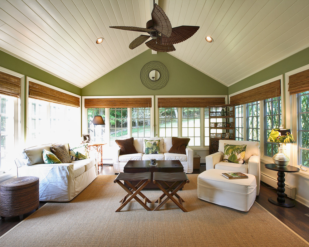 Bright ceiling fan globes in Sunroom Traditional with Vaulted Ceiling  next to Popular Exterior House Colors  alongside Warm Living Room Paint Colors  and Cheap Easy Patio Ideas