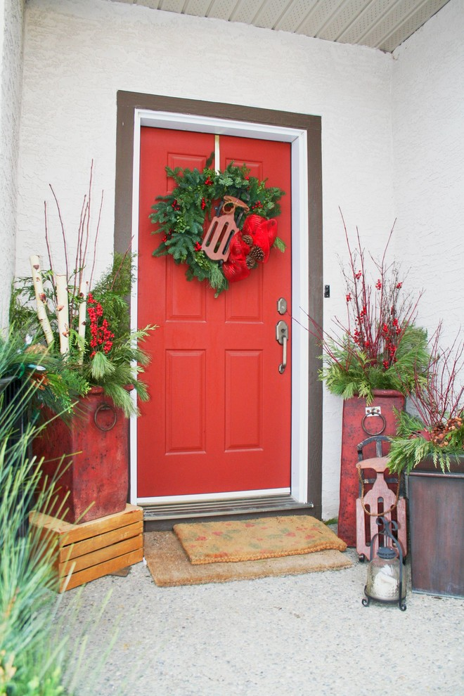 Bright funny welcome mats in Entry Traditional with Flower Pots  next to Red Door  alongside Front Porch Planter  and Front Door Decorations