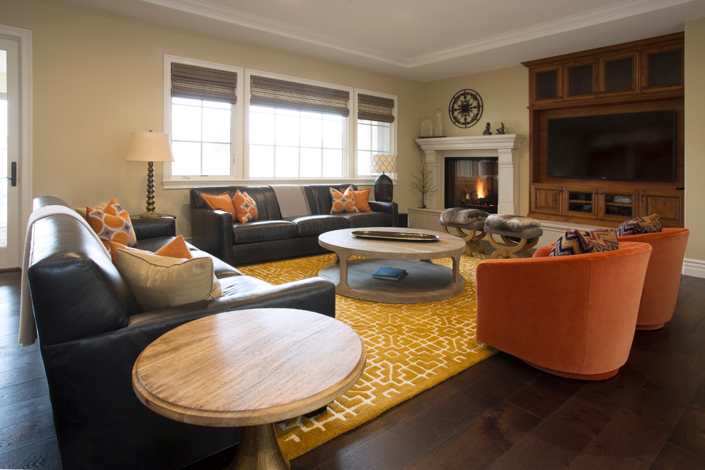 Bright loloi in Living Room Mediterranean with Swivel Barrel Chair  next to Pottery Barn Benchwright Table  alongside Dark Gray Couch  and Pottery Barn