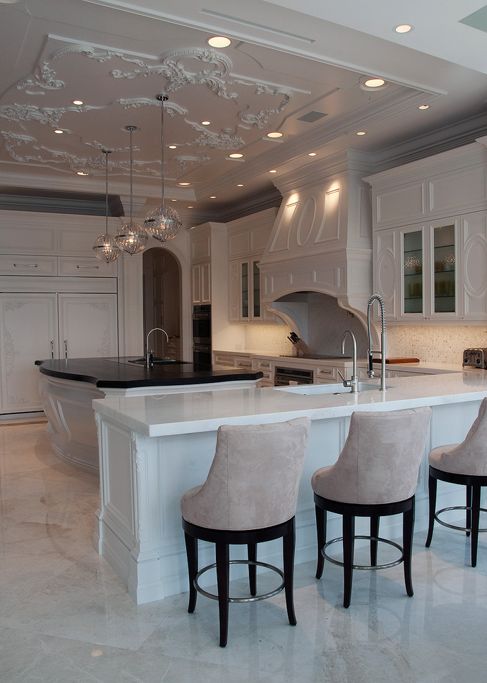 Bright swivel counter stools in Kitchen Traditional with  next to  alongside  and Wenge And White