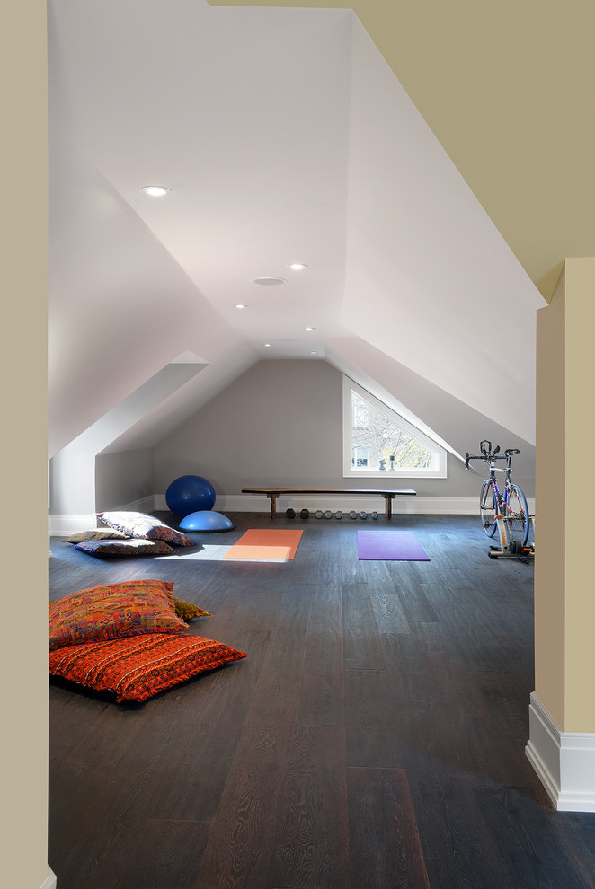 Bright thick yoga mat in Home Gym Contemporary with Convert Garage To Apartment  next to Best Home Gym Colors  alongside Attic  and Yoga Room