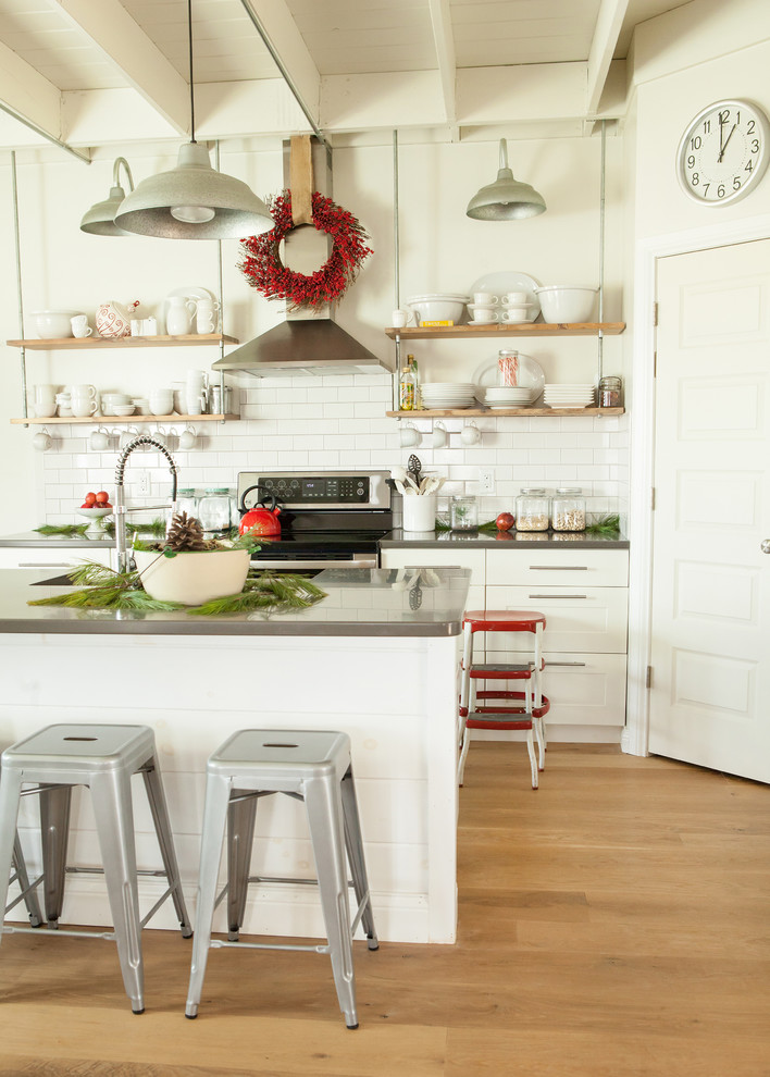Chic burlap christmas tree skirt in Kitchen Contemporary with Dirty Kitchen  next to Open Shelves  alongside My Houzz  and Tile And Wood Flooring