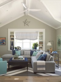 Cool grey sectional couch in Family Room Beach Style with ...