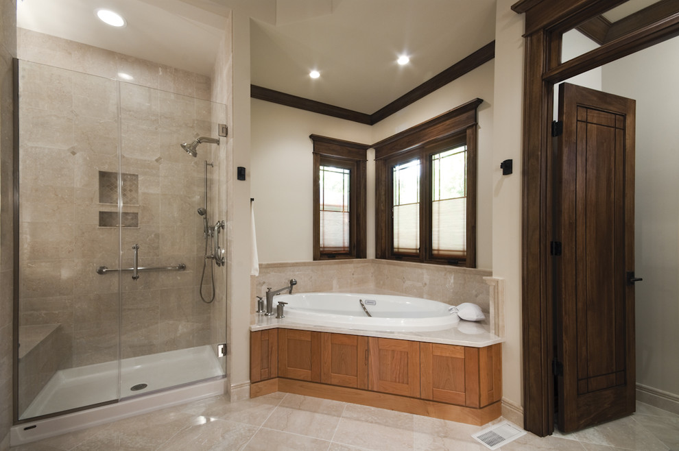 Cool kohler shower base in Bathroom Traditional with Oil Rubbed Bronze Faucet Ideas  next to Corner Tub  alongside Grab Bar  and Grab Bars