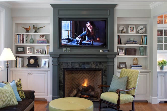 Sumptuous Mantel Shelves In Family Room Contemporary With Stone Fireplace And Tv Next To