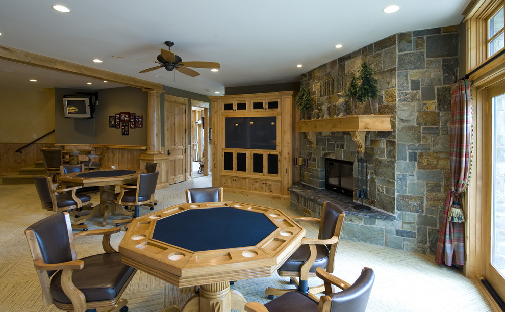 home entertainment fireplace living room furniture ideas to design dazzling poker set in basement traditional with game table next built center alongside exposed ceiling and