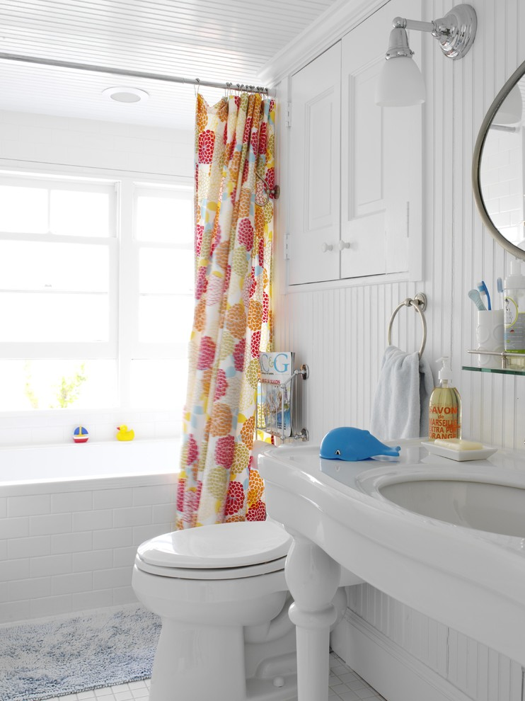 Dazzling white ruffle curtains in Bathroom Beach Style with Bathroom Shower Ideas  next to Showers Without Doors  alongside Simple House Design  and Tub Shower Combo