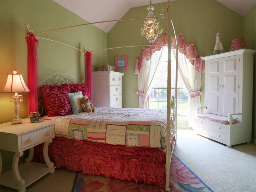 Dazzling white ruffle curtains in Kids Traditional with Iron Bed  next to Fun And Young Kids Room  alongside Girl Bedroom Painting Ideas  and Girls Bedroom