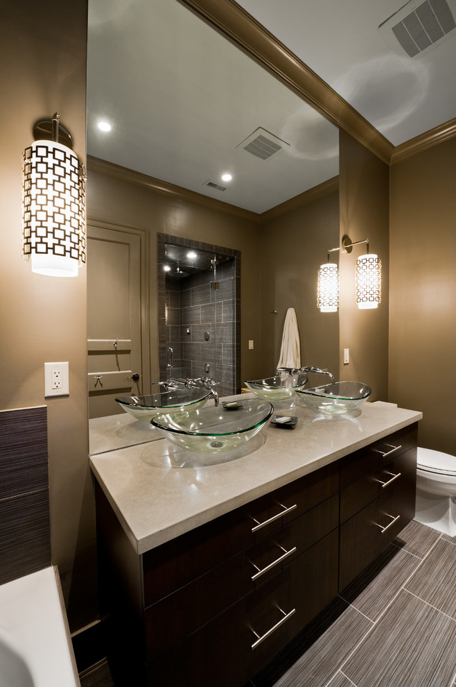 Elegant Glass Vessel Sinks In Bathroom Contemporary With Bathroom Vanity Sconce Next To Commercial Bathroom Alongside Glass Vessel Sink And Bathroom Sconce