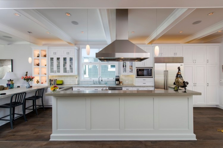 Glamorous Tall Pantry Cabinet In Kitchen Traditional With Subway Tile Floor Next To Toaster Storage Alongside Oak Flooring Kitchen And Island Hood