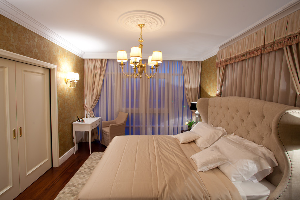 Glamorous wingback bed in Bedroom Traditional with Curtain Behind Headboard  next to Beautiful Beds  alongside Curtain Headboard  and Gold Wallpaper