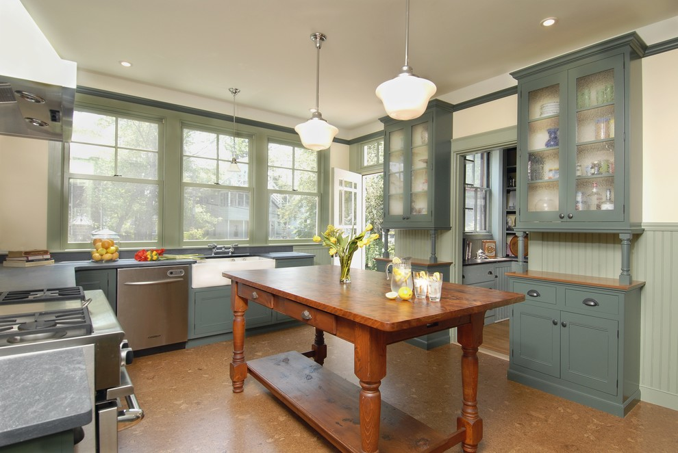 kitchen traditional with cork floor