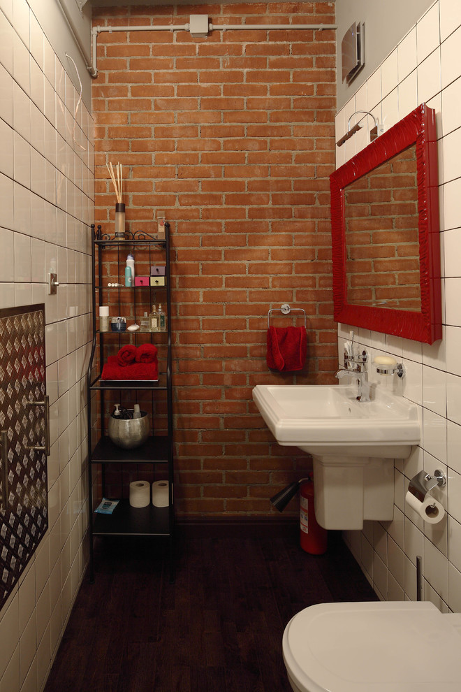 Good Looking wall mount paper towel holder in Bathroom Modern with Brick Wall  next to Red Brick  alongside Exposed Brick Wall  and Towel Ring