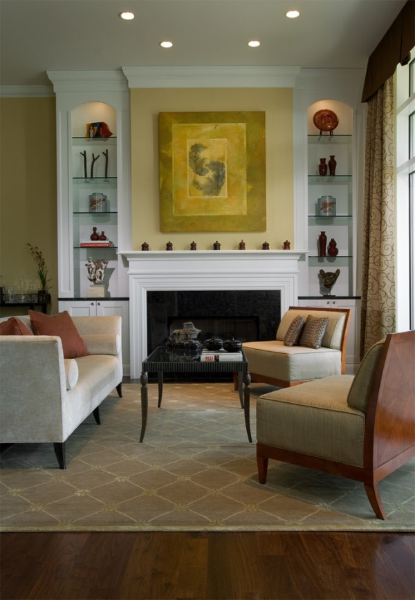Pretty mantel shelves in Living Room Farmhouse with Patio
