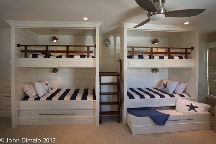 Impressive trundle bunk beds in Kids Traditional with Nautical Railing  next to Hidden Bed  alongside Nautical Lighting  and Bunk Beds Ideas