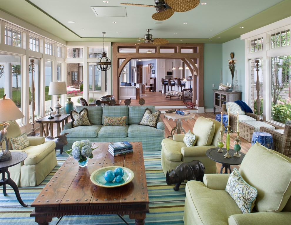 Inspired ceiling fan globes in Living Room Traditional with Rustic Coffee Table  next to Framed Sea Fan Coral  alongside Blue And Green Scheme  and Diy Living Room False Ceiling