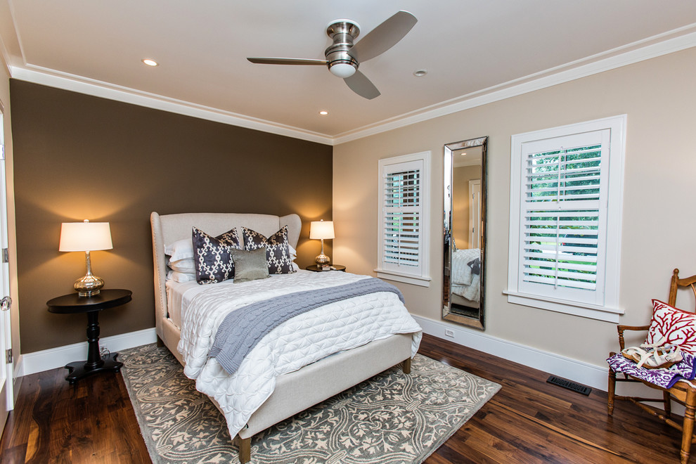 Inspired wingback bed in Bedroom Transitional with Wall Fan  next to Bedroom Fan  alongside Bedroom Rug  and Brown Accent Wall