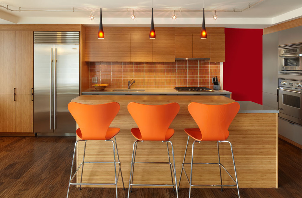 Magnificent swivel counter stools in Kitchen Contemporary with Large Wall  next to Red Walls  alongside Home Bar Ideas  and Apartment 650 Sq Ft