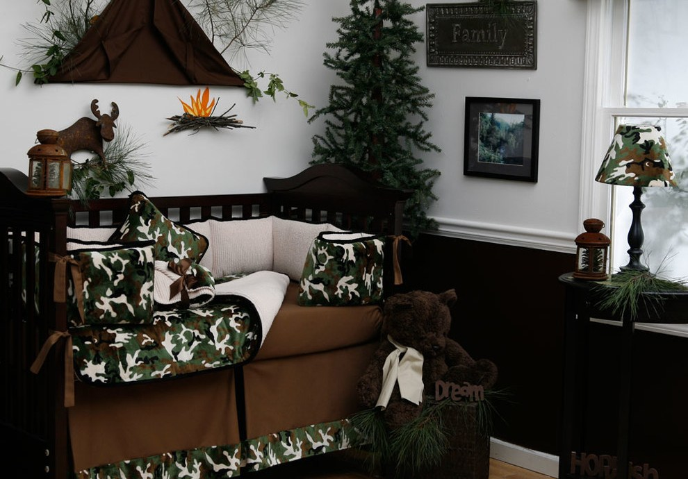Marvelous camo crib bedding in Kids Traditional with Brown Crib next to Decorating With Chair Rails alongside Hanging Tent and Natural Pine