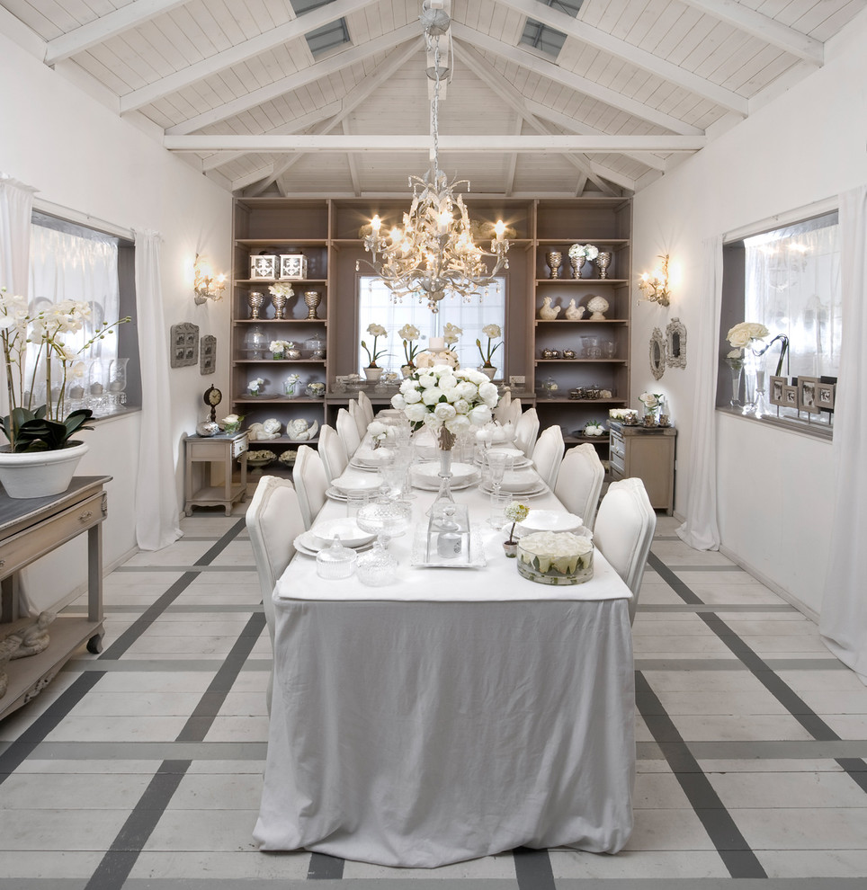 Marvelous cheap table runners in Dining Room Shabby chic with Wood Flooring  next to Dining Table Centerpieces  alongside Exposed Ceiling  and Dining Table Seats Fourteen