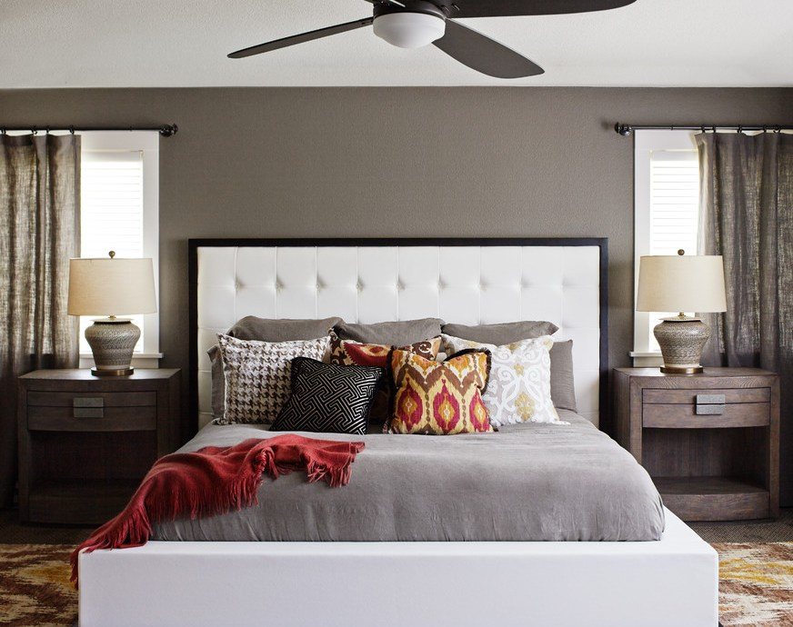 Marvelous loloi in Bedroom Transitional with Restoration Hardware Paint Color next to Benjamin Moore Linen White alongside Benjamin Moore Edgecomb Gray and Throw Pillows