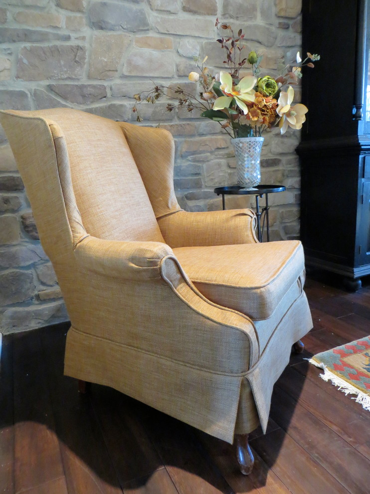 Superb Wing Chair Slipcover In Dining Room Transitional