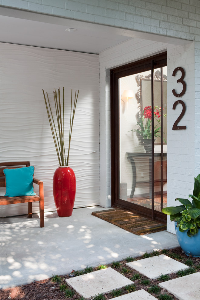 Sumptuous funny welcome mats in Entry Contemporary with Wall Texture  next to Front Steps Railing  alongside Textured Wall  and Modern House Facades