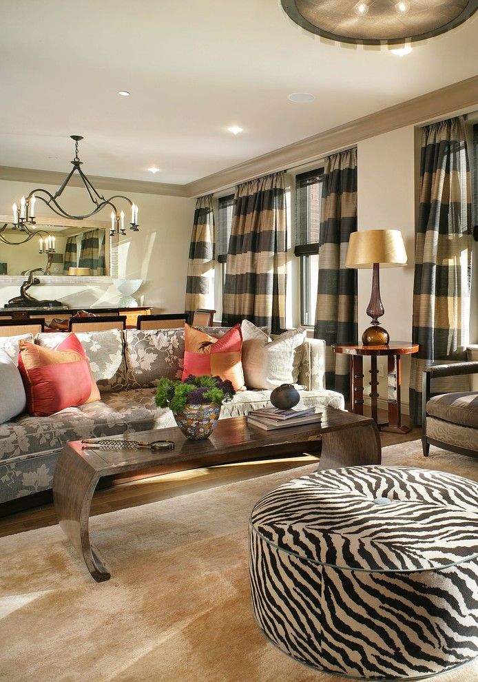Sumptuous horizontal striped curtains in Living Room
