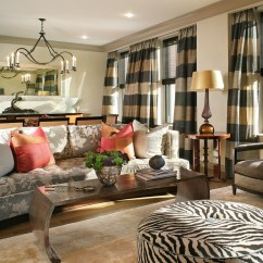 Mixing Leather And Fabric Furniture In Living Room Modern Design Sumptuous Horizontal Striped Curtains ...
