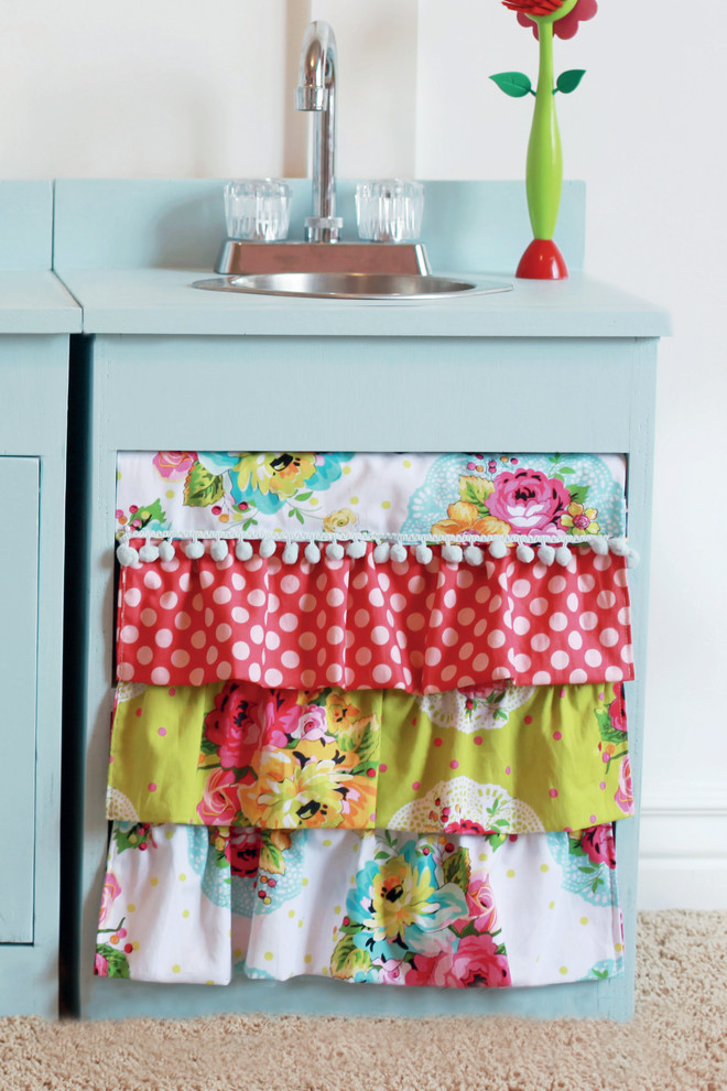 Sumptuous white ruffle curtains in Kids Traditional with Fabric Wall Hanging  next to Hide Storage With Curtains  alongside Sewing Room  and Closet Curtain