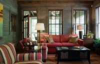 Bright wicker loveseat in Porch Traditional with Sunroom ...