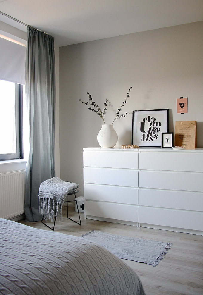 Superb blackout curtain liner in Bedroom Scandinavian with Gray Wall Ideas next to Hide Storage