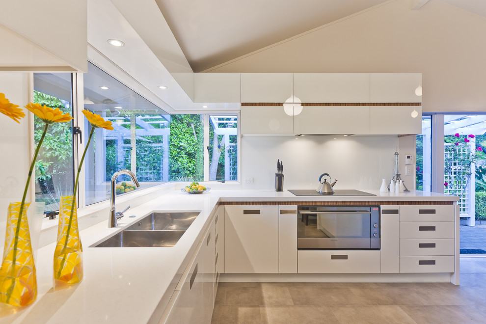 Superb stainless steel griddle in Kitchen Contemporary with Kitchen Hardware  next to Double Faucet Sink  alongside Kitchen Sink  and River White Granite