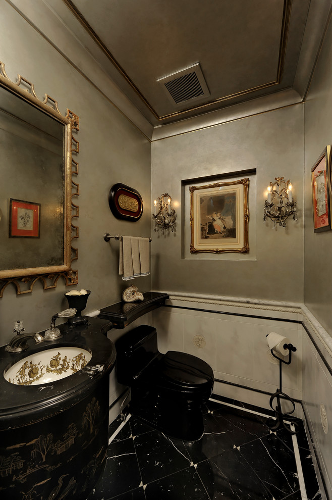 Superb standing toilet paper holder in Powder Room Traditional with Old World Faux Painting