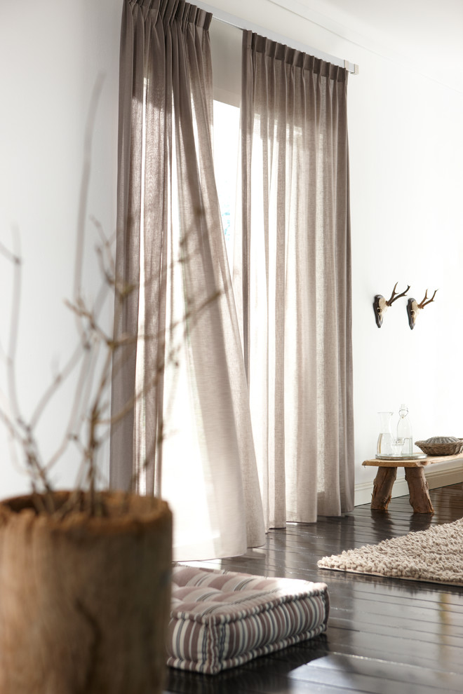 Floor To Ceiling Drapes  Log Bench