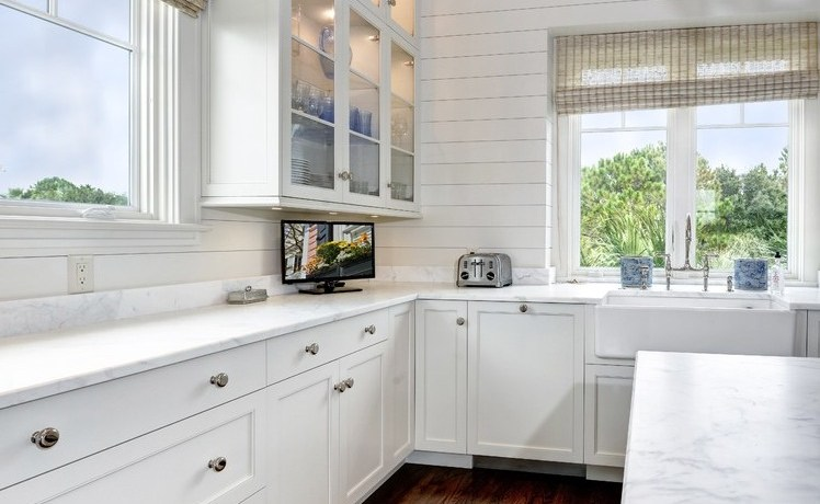 glass cabinet doors kitchen beach style with large windows traditional roman shades