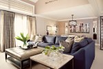 tan leather couch family room transitional with sectional strippable wallpaper rolls