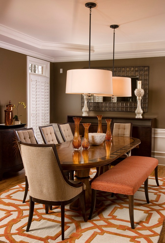 Drum Pendant Lighting Dining Room Transitional with Coffered Ceiling Side Chairs